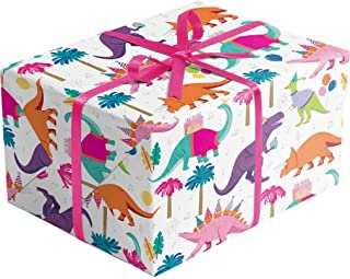 Dinosaur Party Gift Wrapping Paper – 30 Inch x 10 Foot – Folded Flat Sheet - Premium Quality Printed in Italy