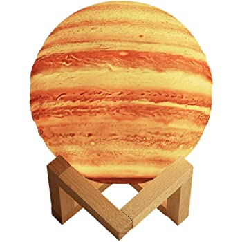 Redlemon Lámpara de Júpiter 3D, Control Táctil e Intensidad Regulable, 2 Colores de LEDs, Batería Recargable de Larga Duración. Réplica de la Superficie de Júpiter, Ideal para Regalar, Mediana (15 cm)