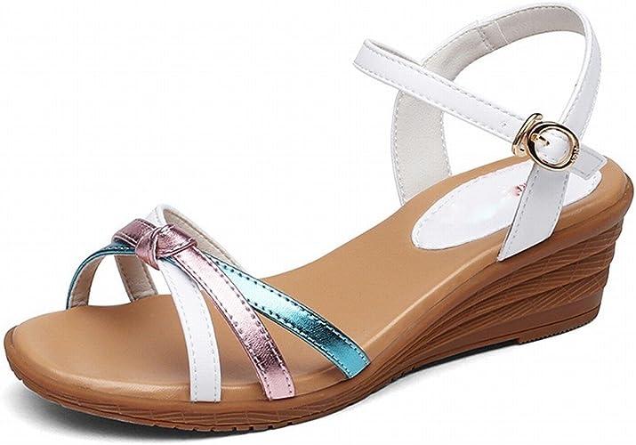 DHG Pente Confortable de Couleurs Mélangées de Mode avec Une Sandales de Femme de Mot Boucle,Blanc,38