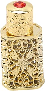 Yunzee Vintage Perfume Bottle Arabic Style Refillable Decorative Perfume Bottle Flower Carving Pattern Handmade Home Decor Bottle,Gold