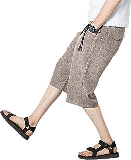 Infabe サルエルパンツ メンズ ミディアムパンツ ワイドパンツ 棉麻 七分丈 袴パンツ ズボン 調整紐 カジュアル 夏 ゆったり