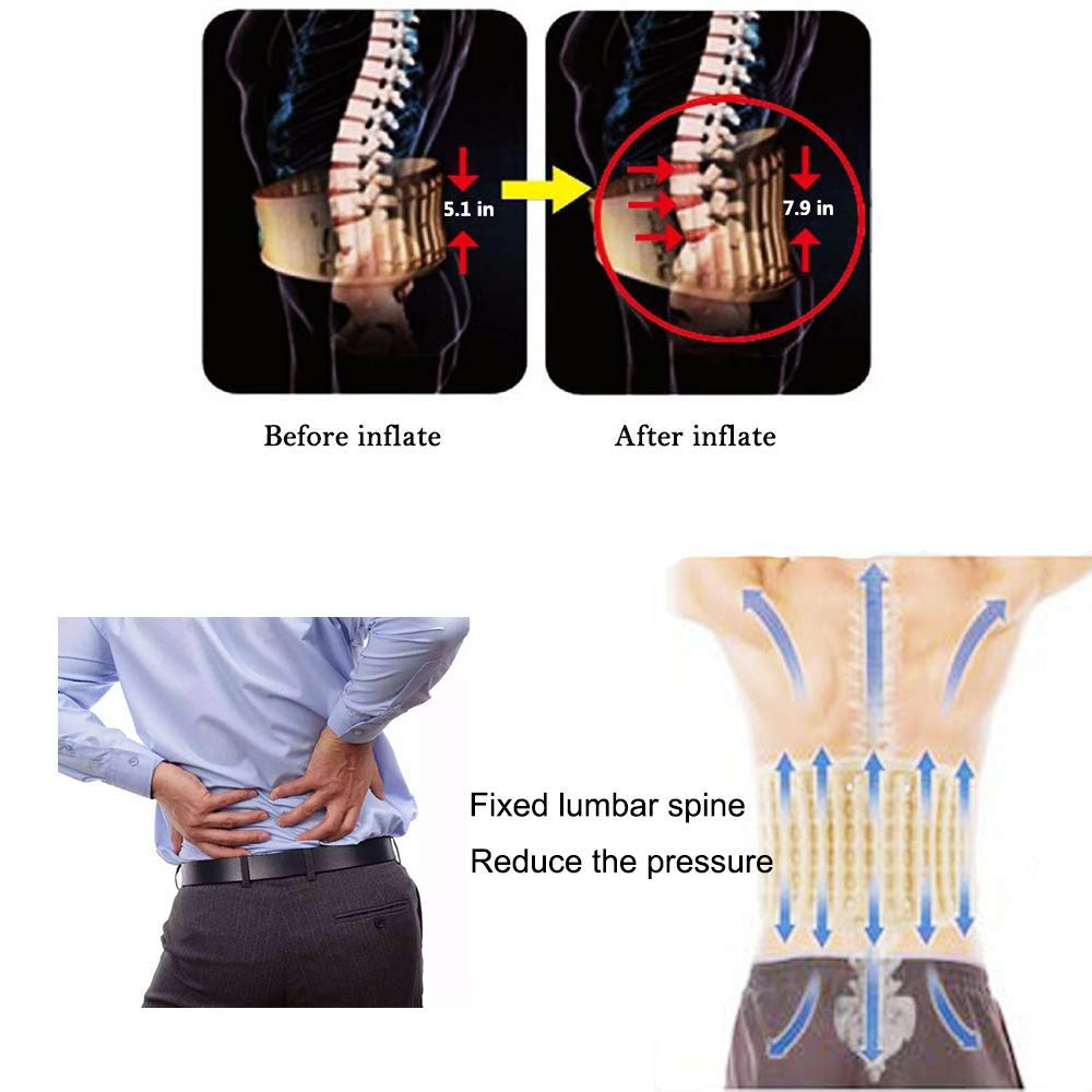 Back Decompression Belt Lumbar Support for Back Pain Relief- Lower Back Traction Device for Women & Men One Size Fits 29-49 Waist