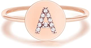 PAVOI 14K Rose Gold Plated Alphabet Disc Initial Ring Stackable Adjustable Size 5-9