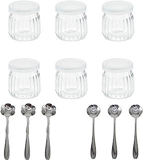 comprar comparacion Tikwisdom 1 juego (6 tarros con 6 cucharas de postre tipo flor) tarros de yogurt con tapa de cristal de repuesto para - ra...