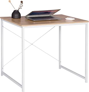 WOLTU Escritorio de Computadora Muebles de Oficina Mesa de PC Mesa de Oficina de Madera y Acero, con Estante TSB03whe Blanco + Roble Claro