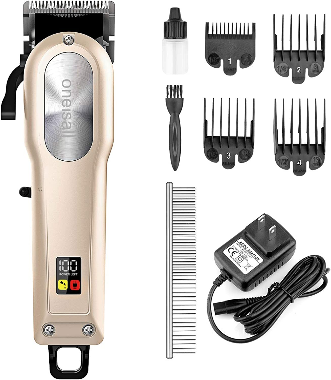 Oneisall Dog Grooming Clippers,Professional Rechargeable Hair Clipper Heavy Duty Shaver Low Noise Pet Grooming Kits,Suitable for Dogs,Cats,Horse and Other Animals,gold