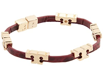 Tory Burch Serif-T Stackable Croc Bracelet (Tory Gold/Roma Red) Bracelet