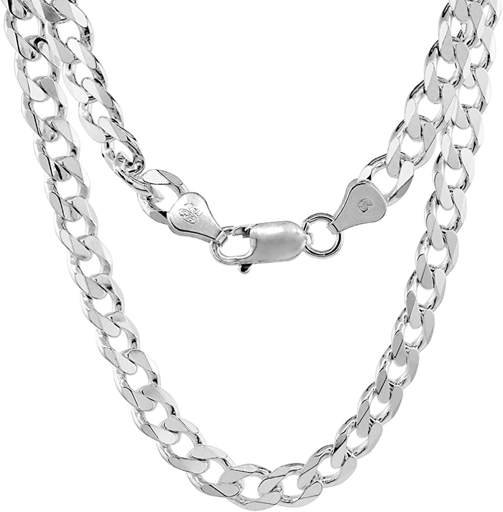 Solid 925 Sterling Silver Curb Chain Mens Boys Necklaces Italian Style Heavy 14mm flat style