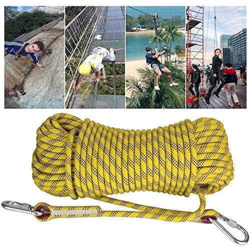 Flucht Seil 12mm gelb statisches Kletterseil im Freien Multifunktions for Camping leicht zu Zelt Carry Führungslinien entweichen technisches Abseilen Seil FACAI (Color : Yellow, Size : 20m)