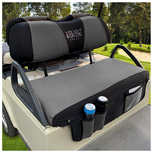 10L0L Newest Golf Cart Seat Cover Set with Storage Bags Fit for EZGO TXT RXV & Club Car DS, Keep Warm Bench Seat Covers Breathable Washable Polyester Mesh Cloth Gray Black Red - Small