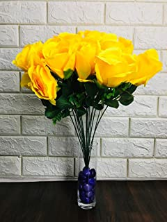 JustDecors® Fabric Artificial Big Rose Flower Bunch for Home, Office, Garden, Living Room, Table Top Decor (18 Flower Head...