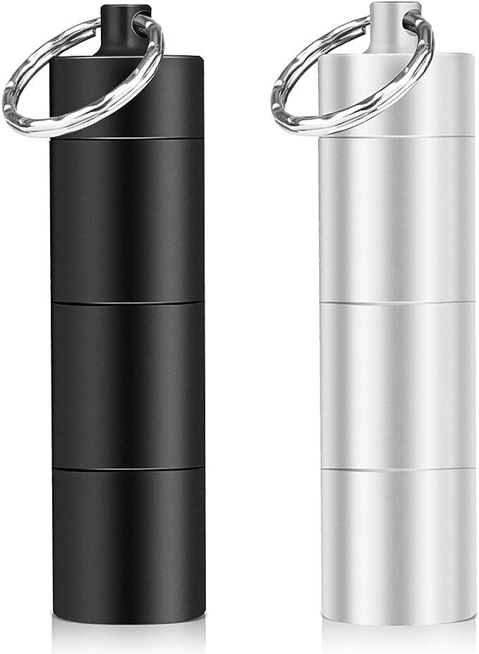 Opret ピルケース 携帯型 2色セット ブラック+シルバー