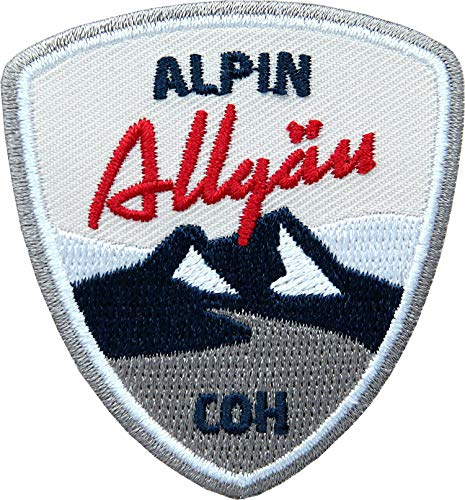 2 x Stick-Abzeichen 55 x 60 mm rot / Allgäu Alpin, Allgäuer Alpen / Aufnäher für Outdoor Mode Sport / Aufbügler Sticker Flicken Applikation Wappen / Wandern Ski Snowboard Wintersport Winter Tour