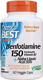 Doctor's Best Benfotiamine 150 + Alpha-Lipoic Acid 300 with BenfoPure, Non-GMO, Vegan, Gluten Free, Promotes Healthy Blood Sugar, 60 Veggie Caps