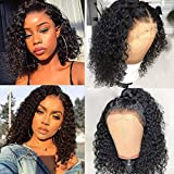 ISEE Short Bob Wigs 4x4 Lace Closure Human Hair Wigs Brazilian Curly Lace Front Wigs Pre Plucked Natural Black Color Curly Bob Wig Lace Front Wigs Middle Part Short Bob Wigs 12 Inches