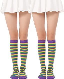 mardi gras knee socks
