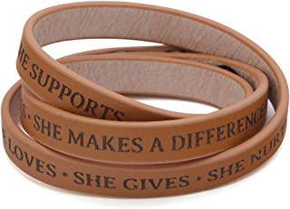 Celebrating Women Inspirational Leather Wrap Bracelet | She Makes a Difference | Made of Genuine Leather | Three Snap Settings