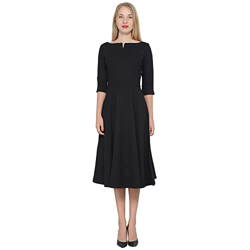 b58109f143b4 Marycrafts Women's Fit Flare Tea Midi Dress for Office Business Work