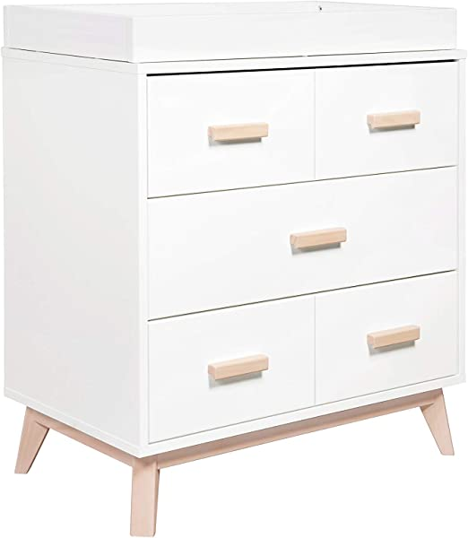 Babyletto Scoot 3 Drawer Changer Dresser With Removable Changing Tray White Washed Natural