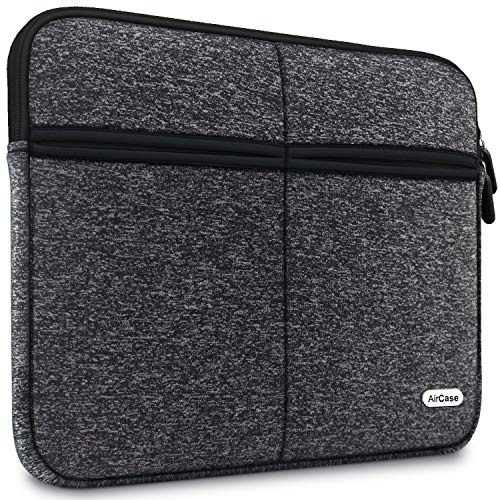 AirCase 11.6-Inch Laptop Sleeve, Premium, Designer, 6-MultiUtility Pockets (Charcoal Black)