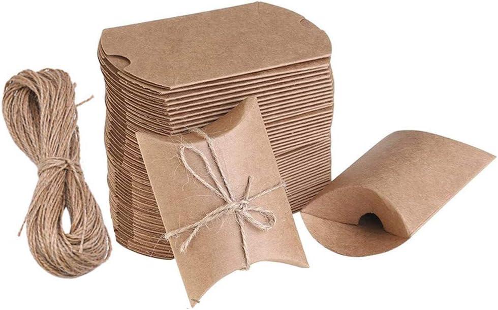 100 Piezas Cajas Almohadas de Kraft Cajas de Regalo Pequeñas Marrones Vintage Cajas de Papel con Cuerda de Yut para Caramelos Bombones Regalos