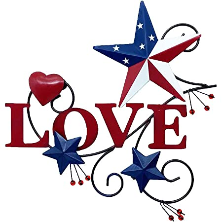 Amazon Com 4homemax Primitive Country Metal Hanging Wall Art Sculpture Hearts And Americana Stars With Love July 4th Patriotic Indoor Outdoor Decor Everything Else