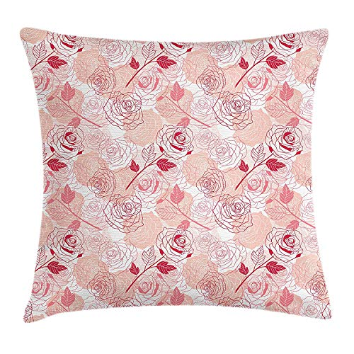 JIMSTRES Roses Throw Pillow Cushion Cover, Doodle Sketch Style Romantic Flowers Botany Arrangement Graceful Retro Foliage, Decorative Square Accent Pillow Case, Coral Peach White 20x20 inches