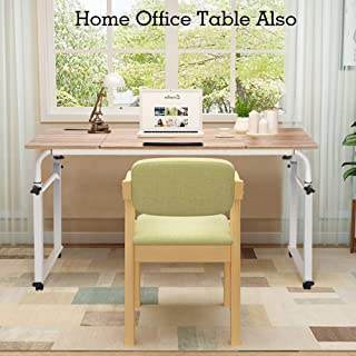 Height Adjustable Overbed Table, Multifunction Mobile Laptop Cart Computer Desk Rolling Medical Table Study Table Standing Workstation (47.24inch)