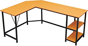 GreenForest L Shaped Desk 65.7x47 inch Large Size Corner Computer Desk with Storage Shelf Pc Workstation for Home Office Saving Space Writing Study Desk