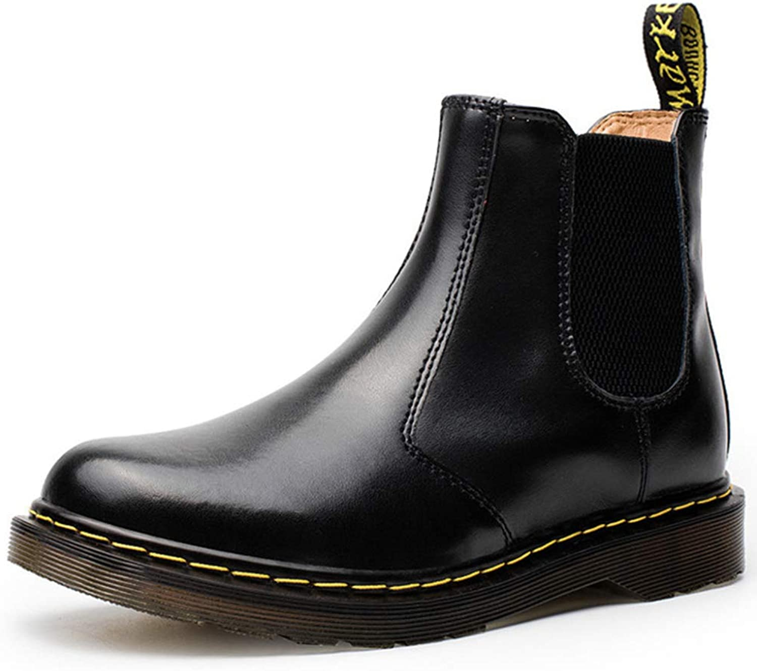 Yra Chelsea Boots Men's Couple Genuine Leather Martin Boots Casual High-tops shoes For Womens Round Toe Ankle Boots 35-44