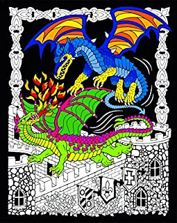 Stuff2Color Dueling Dragons - 16x20 Fuzzy Velvet Coloring Poster