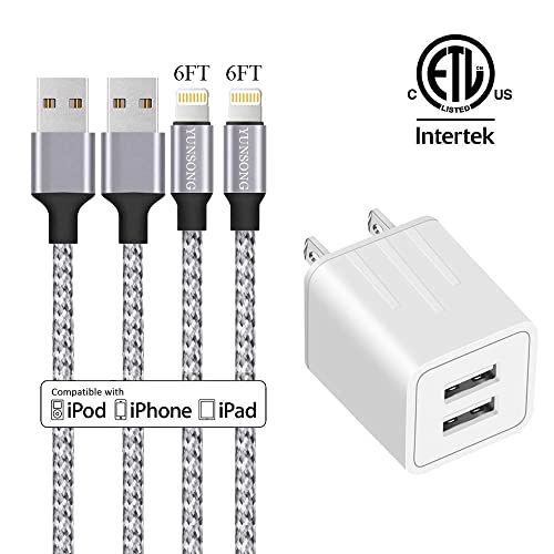 iPhone Charger, YUNSONG Nylon Braided Lightning Cable 2Pack 6ft Data Sync Transfer Cord 2-USB Rapid Charging Plug Wall Charger Compatible With iPhone 11 Pro Max XS XR X 8 7 6S 6 Plus SE 5S 5C 5 iPad