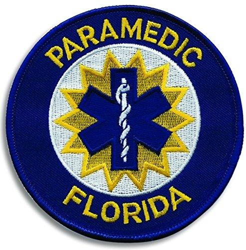 "FLORIDA PARAMEDIC Shoulder Patch, Star of Life, Royal Blue Border, 4"" Circle, Florida State, FL emt ems emergency patch badge logo costume paramedic nurse - Sold by UNIFORM WORLD"