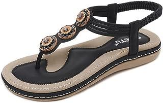 CYBLING Women's Thong Flat Sandals Summer Rhinestone Bohemian T-Strap Slingback Beach Flip Flops Shoes