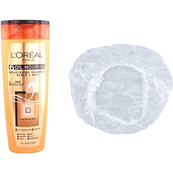 Loreal 6 Oil Nourishing Set of 2 (Shampoo+Shower Cap) 360 ml with Ayur Product in Combo