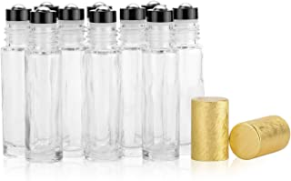 10ml Clear Glass Brushed Roller Bottles,Thick Essential Oil Perfume Bottle With Upgraded Stainless Steel Roller Balls,Gold...