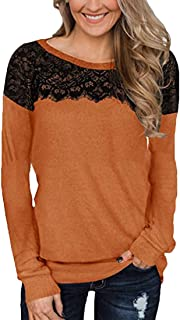 S-Fly Women's Long Sleeve Slim Fit Lace Patchwork Casual O-Neck T-shirt