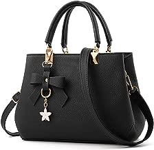 URAQT Damen Handtaschen Schulterbeutel, Frauen Stilvolle PU Designer Schultertasche Taschen Umhängetasche - Schwarz, Geschenk Zum Muttertag