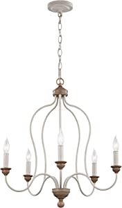 """Feiss F2998/5CHKW/BW Hartsville Farmhouse Candle Chandelier Lighting, White, 5-Light (24""""Dia x 26""""H) 300watts"""