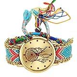 Mingfa Natürliche handgefertigte Damen-Armbanduhr mit Quarz-Armband Dreamcatcher Freundschaft Valentinstag Analog Quarz Blumen bedruckt Digital Uhren Gr. Einheitsgröße, g