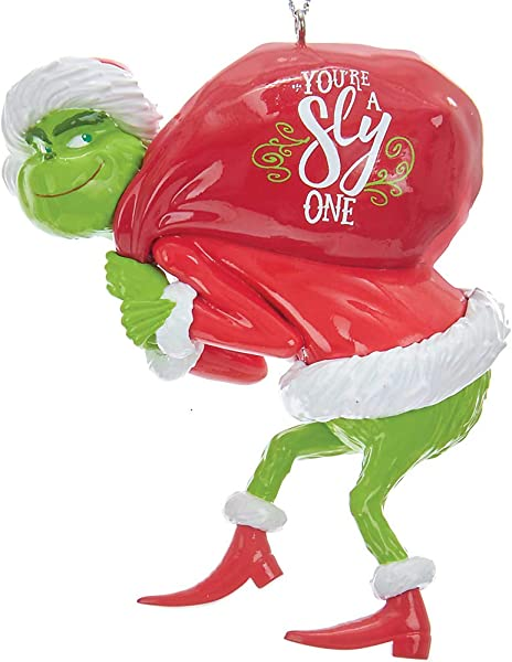 Johnson Smith Co KURT S ADLER INC Grinch With Red Sack Christmas Tree Ornament Dr Suess Holiday Decoration
