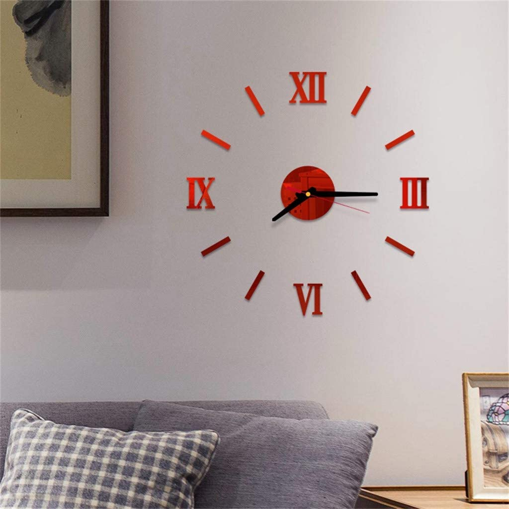 Pageantry Wall Clocks for Living Room Modern Large Wall Clocks for Home and Office Silent DIY Frameless Large Wall Clock 3D Mirror Sticker Home Office Decorations No Battery
