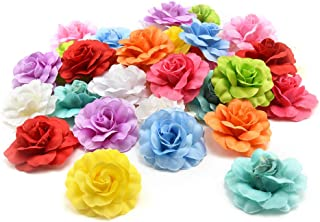Fake flower heads in bulk Wholesale for Crafts DIY Artificial Silk Rose Peony Heads Decorative Stamen Fake Flowers for Wedding Home Birthday Decoration Vases Decor Supplies 30PCS 4.5cm (Colorful)