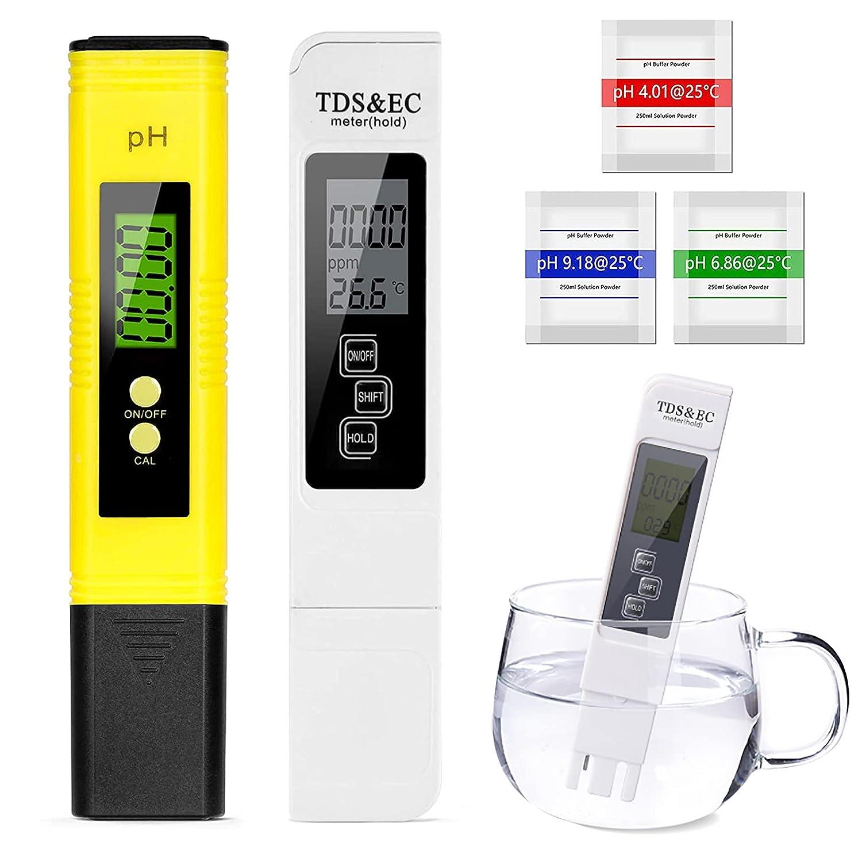 Medidor de pH Digital,Medidor de pH con Medidor TDS & EC Temperatura 4 en 1,Kit de Prueba de Calidad del Agua para Piscina SPA Acuarios Agua Potable