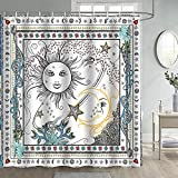 Gdmoon Sun and Moon Shower Curtain Love Stars Fantasy Galaxy Bohemian Flower Plant Pattern Mandala Hippie Hip Hop Retro Psychedelic Cool Colorful Bathroom Curtain Set with 12 Hooks 72x72In YLWHGD1481