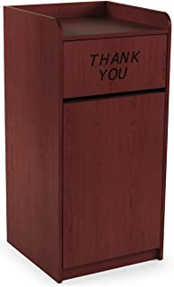 Displays2Go 36 Gallon Commercial Waste Bin, Top Tray Holder, Swinging Door, Graphic, Melamine - Special Mahogany (LCKDPZTRSM)