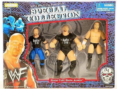 WWF WWE 1998 Jakks Special Collection Stone Cold Steve Austin Aktion Figuren Set 3 guren selten New Limited Edition Collectible