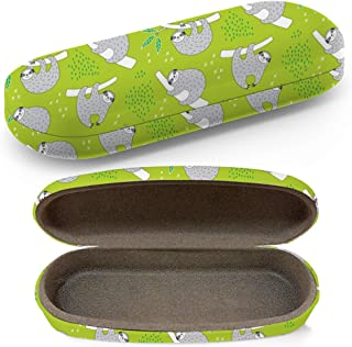 Hard Shell Glasses Protective Case with Cleaning Cloth for Eyeglasses and Sunglasses - Cute Sloth Doodle