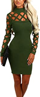 YOINS Dresses for Women Sexy Bodycon Lace Hollow Design High Neck Long Sleeves Mini Casual Party Cocktail Dress
