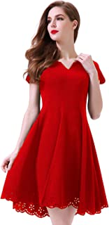 Women's Cute Scallop Short Sleeve Casual Skater Dress Cocktail Party